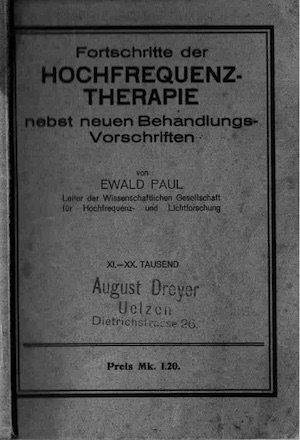 Buch Hochfrequenztherapie, 1927