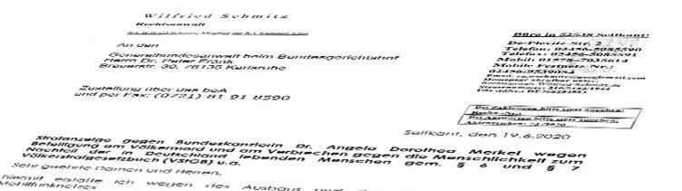 RA Wilfried Schmitz klagt Dr. Angela Merkel wegen Beteiligung am Völkermord - durch 5G